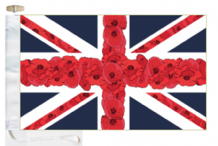 Remembrance Day Poppy Union Jack Courtesy Boat Flags (Roped and Toggled)